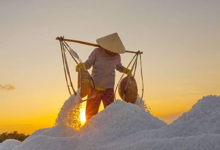 Mountains of salt in Vietnam