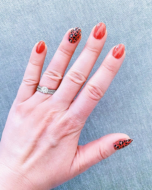 Coral Summer Leopard Nail Art