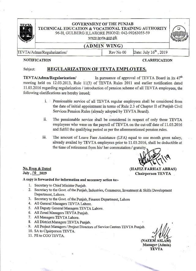 NOTIFICATION OF REGULARIZATION OF TEVTA EMPLOYEES