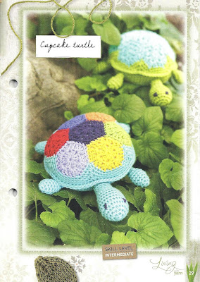 A photo of the pattern booklet showing an example of a finished Cupcake Turtle.