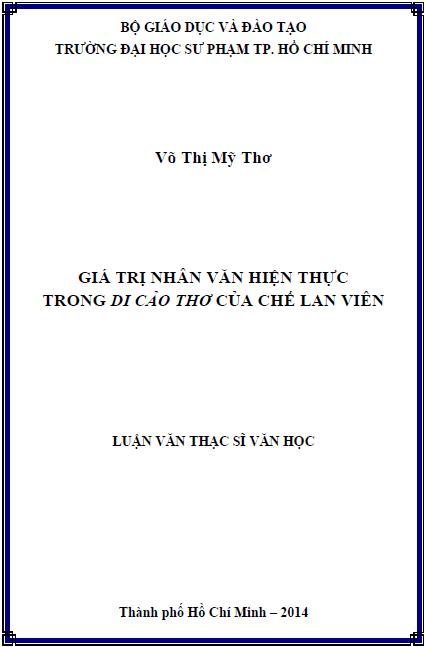 Giá trị nhân văn hiện thực trong Di cảo thơ của Chế Lan Viên