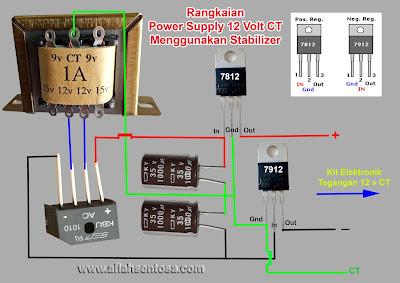 Cara membuat power supply 12 volt CT menggunakan stabilizer