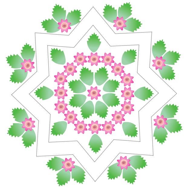 Звездный коврик с розочками крючком. Схемы вязания (3)