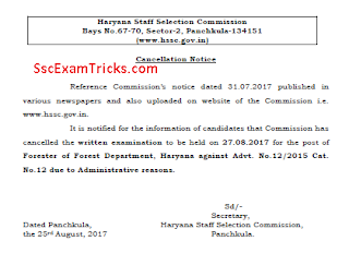 Haryana Forester Exam Cancellation Notice 2017