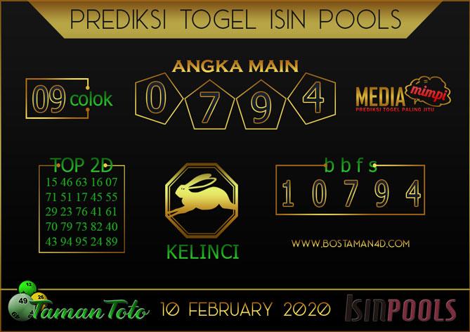 Prediksi Togel ISIN TAMAN TOTO 10 FEBRUARY 2020