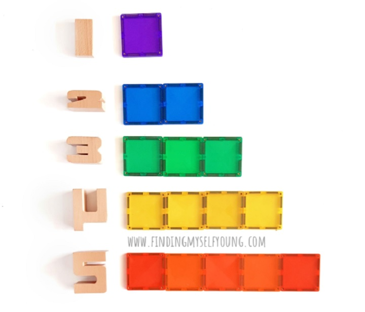 connetix tiles and sumblox representing numbers and one to one correspondence