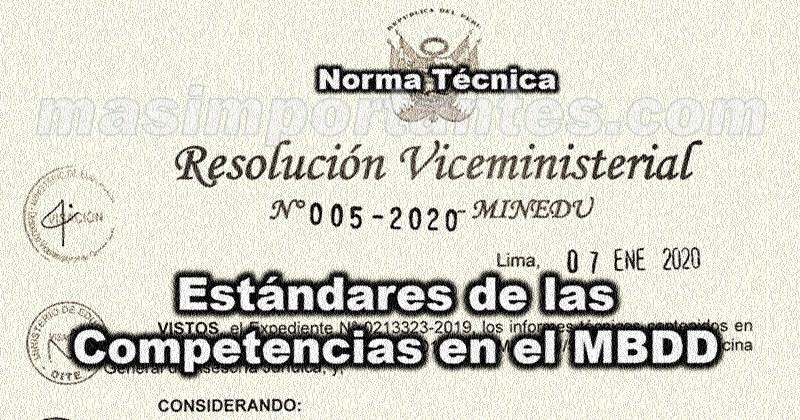 estandares del marco del buen desempeño docente RVM Nº 005-2020-MINEDUº