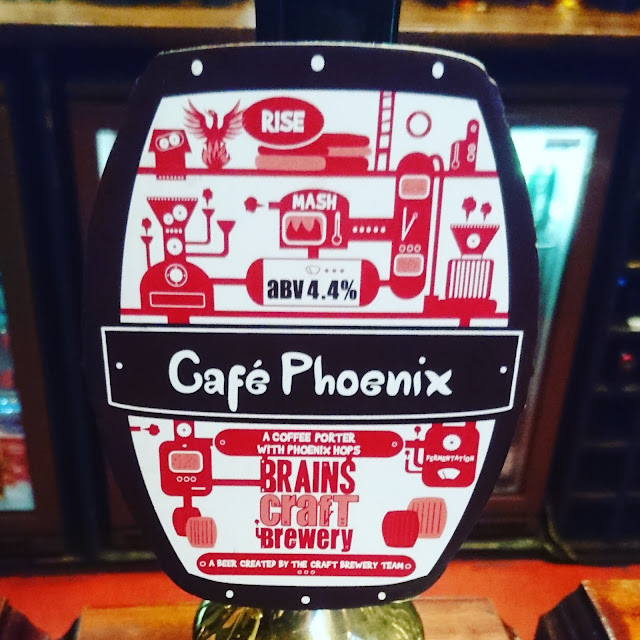 South Glamorgan Craft Beer Review: Cafe Phoenix from Brains real ale pump clip