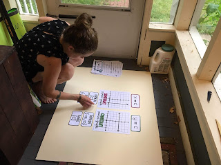 With so many teachers and students now learning online, I needed to (quickly) figure out a way teachers and students could access their math word walls digitally. The thought of teachers no longer having access to their classroom bulletin boards made me so sad! So after a lot of thought about the formatting, I worked over the summer and into the early fall to convert every one of my math word walls to also work digitally in Google Slides. They are clickable and interactive and the format *almost* feels like a real classroom. I decided to use photographs of the word walls to give students the feeling of being in a classroom. Here is me taking [what I thought was] the last photo.