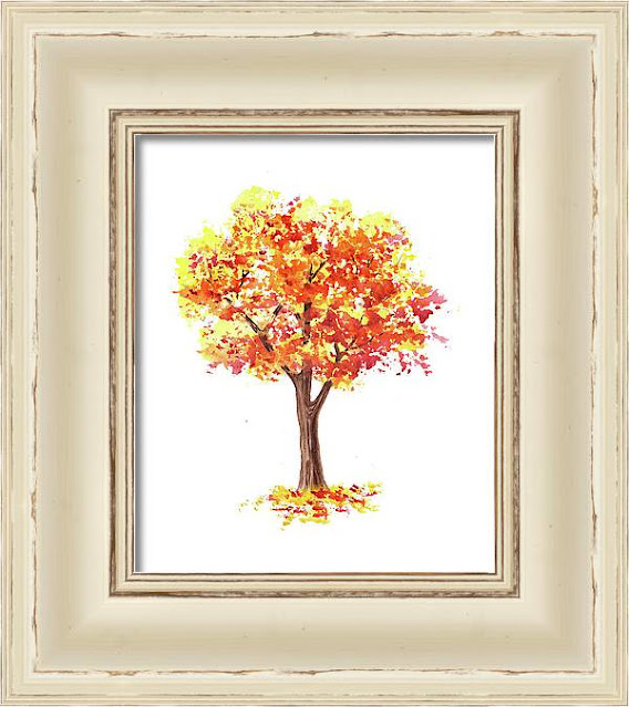 Autumn Tree Fall Watercolor by the artist Irina Sztukowski