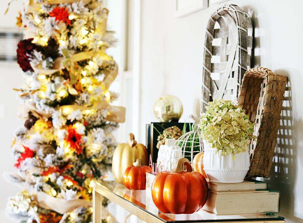 fall-decor-decorating-tree-earthy-warm-burlap-mums-sunflowers-flocked-tree-athomewithjemma