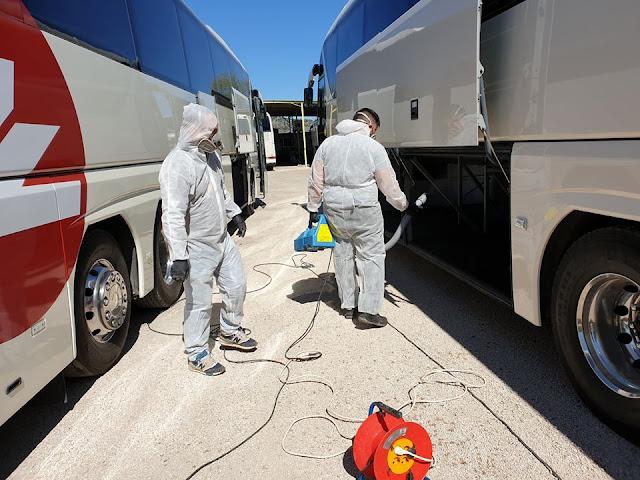 Απολύμανση λεωφορείων και του γραφείου Zafiris tours