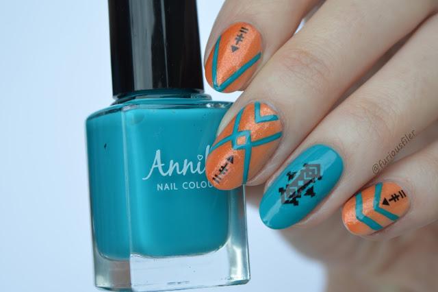 festival summer bright turquoise nail art tribal furious filer