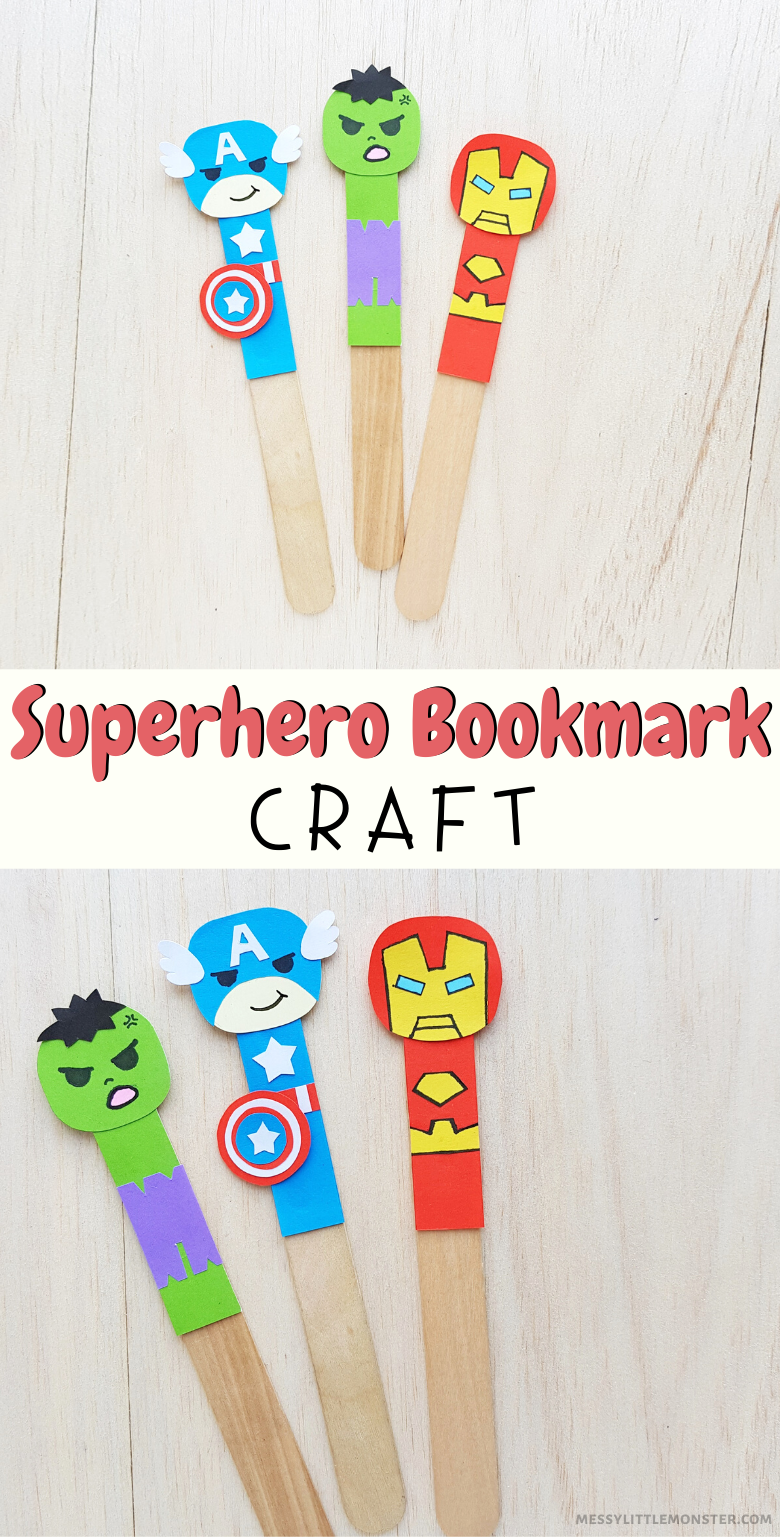 Superhero craft for kids.  Bookmark craft with printable template.