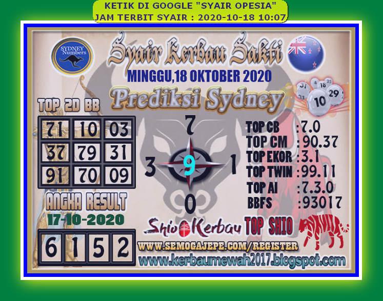 Kode syair Sydney Minggu 18 Oktober 2020 109