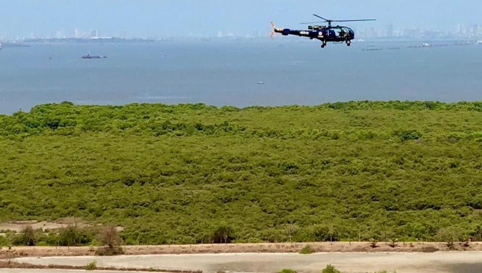 Residents spot low-flying defence chopper over flamingo habitat; Navy says migratory bird survey