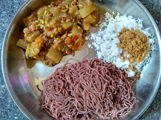 Maappillai Samba Stringhopper (Idiyappam), Ash gourd-Green gram sprouts curry, Coconut-Jaggery