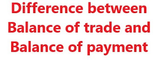 Difference between Balance of trade and Balance of payment