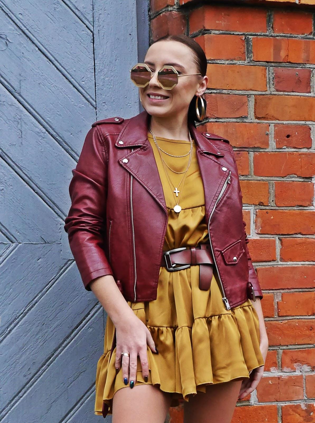 mustrad dress femme luxe burgudny biker jacket zara snake boots karyn fashion blogger