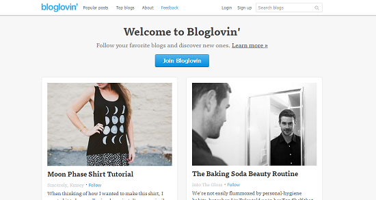 Print screen of the Bloglovin' homepage featuring two example blog posts