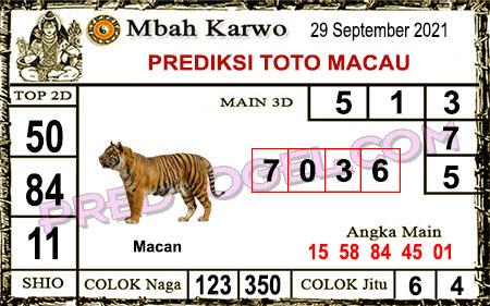 Prediksi jitu Mbah Karwo Macau Rabu 29 September 2021