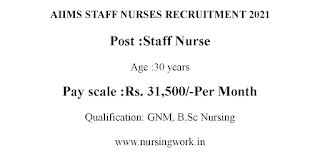 AIIMS Staff Nurse Jobs-31,500 Salary