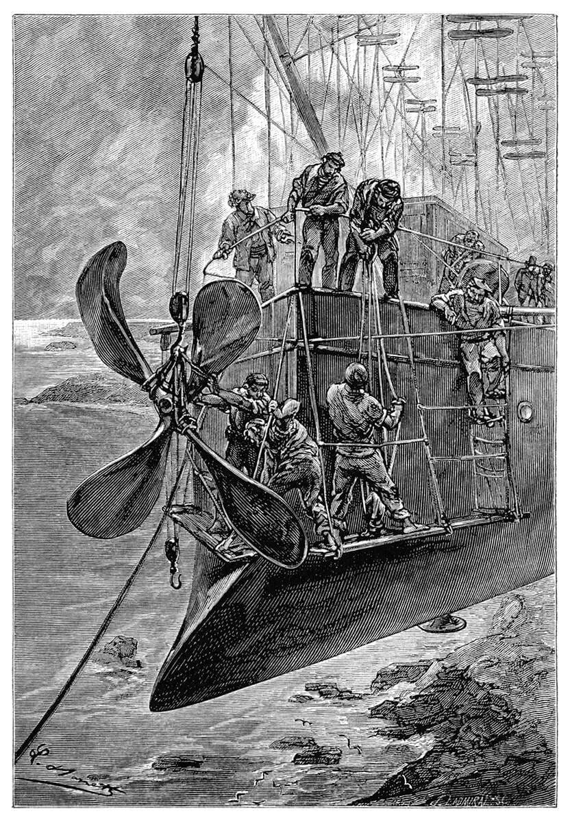 Grabado de Robur el Conquistador, por Léon Benett
