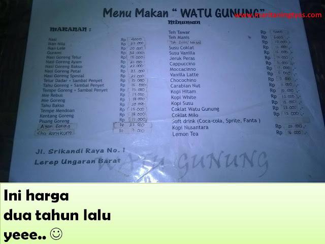 harga makanan di Watu Gunung Ungaran