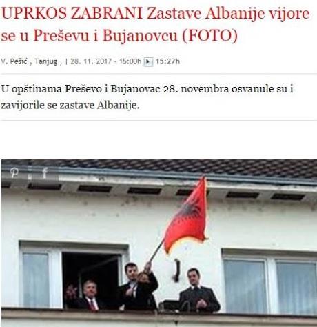 Albanians waving their flag in Presevo