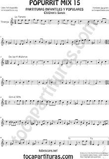 Partitura de Trompa y Corno Francés Popurrí 15 La Tarara, De los 4 Muleros y Con el Vito Sheet Music for French Horn Music Scores