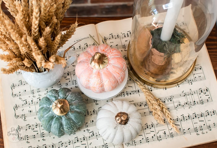 white washed pumpkins on music sheet with wheat