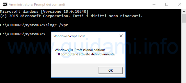 Vedere se Windows 10 è attivato da Prompt dei comandi