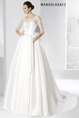 Vestido de novia en mikado de seda