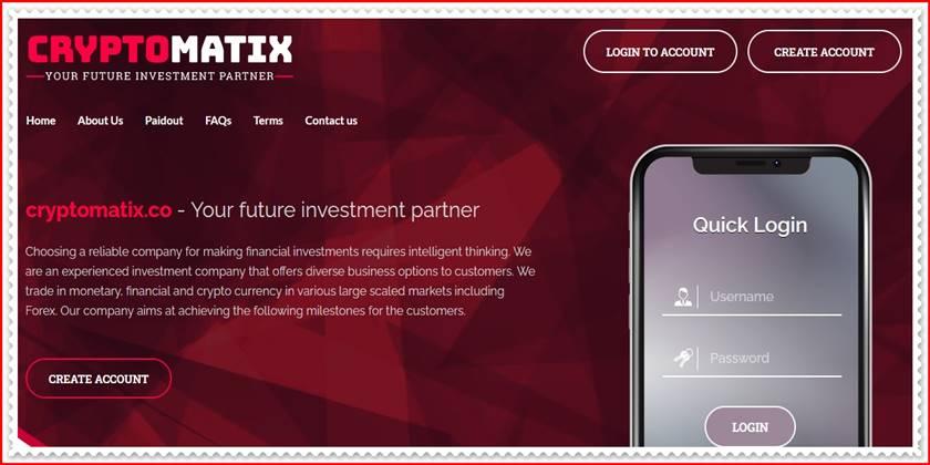 Мошеннический сайт cryptomatix.co – Отзывы, развод, платит или лохотрон? Мошенники