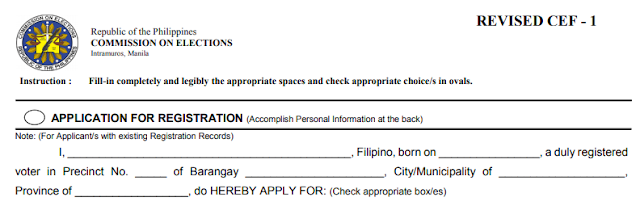 COMELEC Voters Application for Registration Philippines