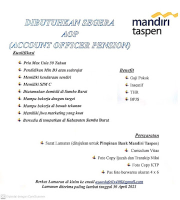 Lowongan Kerja Bank Mandiri Taspen Waingapu Sebagai Account Officer Pensiun