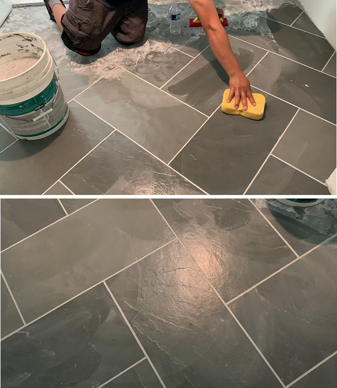 cleaning the grout from slate tiles