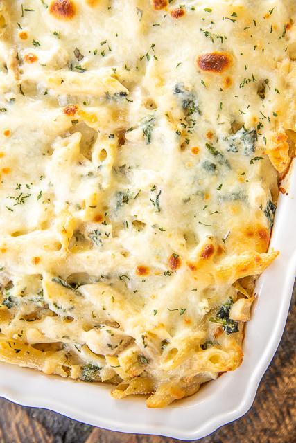 chicken pasta in casserole dish