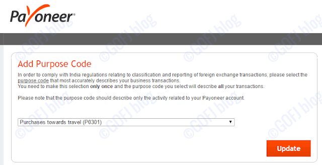 Payoneer Purpose code