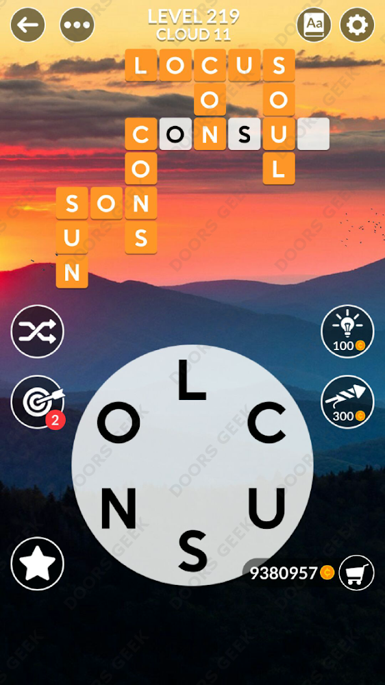 Wordscapes Level 219 answers, cheats, solution for android and ios devices.
