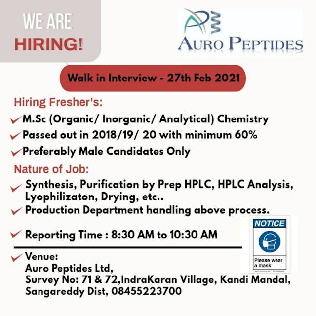Aurobindo Peptides | Walk-in interview for Freshers on 27th Feb 2021