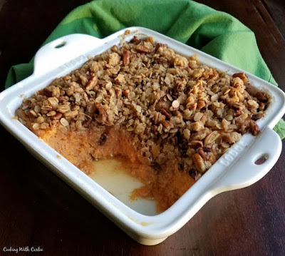 square baking dish of maple crunch sweet potato casserole