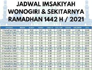 jadwal imsakiyah daerah wonogiri 2021