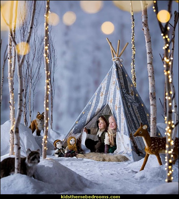 Winter Woodland 4-Pole Teepee    penguin bedrooms - polar bear bedrooms - arctic theme bedrooms - winter wonderland theme bedrooms - snow theme decorating ideas - penguin duvet covers - penguin bedding - Snow queen - winter wonderland party ideas - Alaska - White Christmas