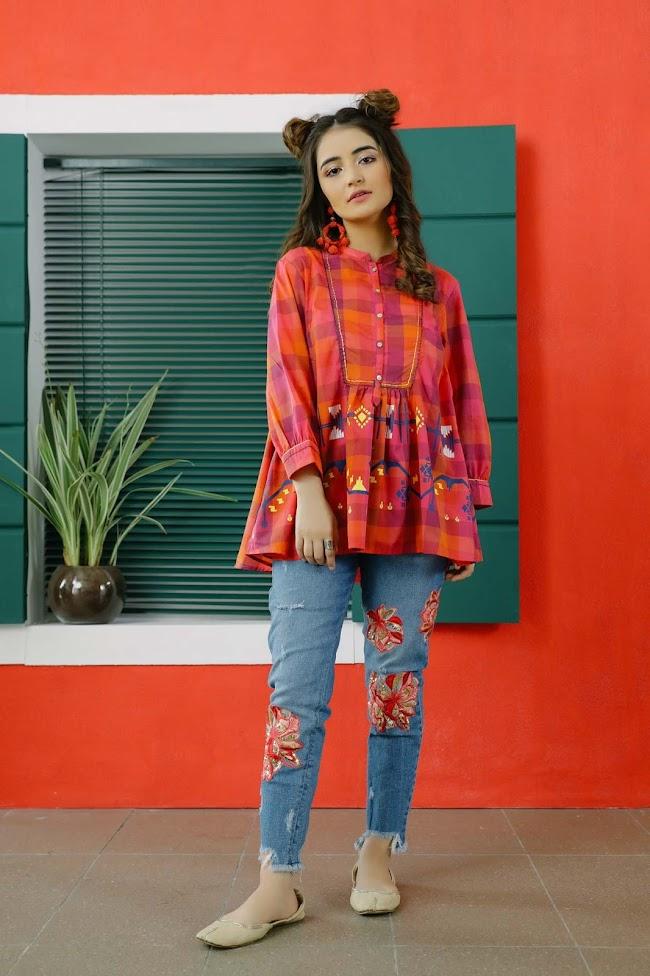 Ethnic Red Yarn Dyed Shirt
