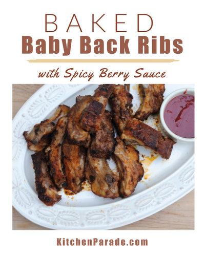 Baked Baby Back Ribs with Spicy Berry Sauce ♥ KitchenParade.com, no-wait recipe for baby back ribs. Delicious sauce of fruit, honey, ginger, balsamic vinegar.