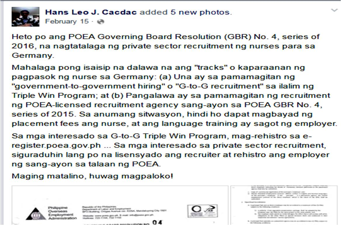 application process poea recruiting for on gov to gov apply in private recruitment firms to verify first if the recruitment agency have valid licence and if they are recruiting poea approved job order