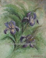 Iris, huile 12 x 10 par Clémence St-Laurent - gerbe d'iris bleus, violets et jaunes