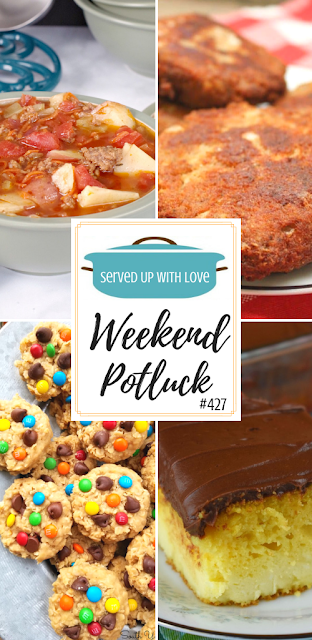 Weekend Potluck featured recipes include Southern Salmon Patties, Granny's Boston Cream Cake, Easy Hamburger Soup, No-Bake Monster Cookies, and so much more.