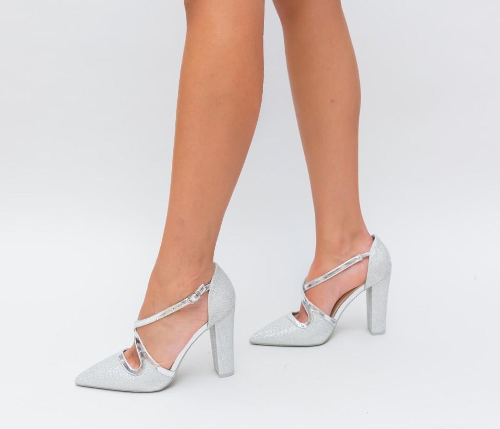 Pantofi eleganti de dama Argintii cu toc gros inalt ieftini